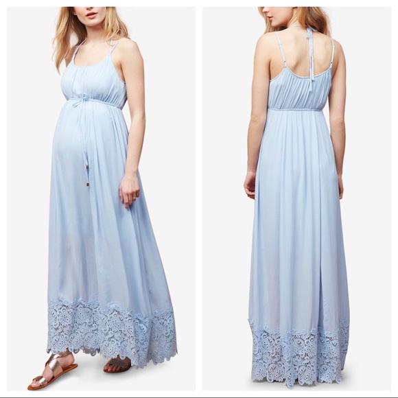 04598e18abe Motherhood Lace Trim Maternity Maxi Dress